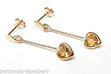 9ct Gold Citrine Heart Drop Earrings Made in UK Gift Boxed