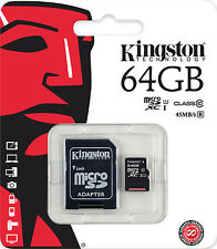 KINGSTON MICRO SD SDHC SDXC MEMORY CARD UHS-1 CLASS 10 - 64GB