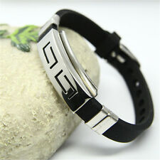 Fashion Men's Black Punk Stainless Steel Silicone Wristband Bracelet Cuff Bangle