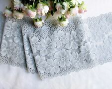 17 cm width Exquisite Cool Grey Flower Stretch Lace Trim