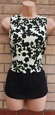 RIVER ISLAND NEON GREEN BLACK WHITE FLORAL SILKY BLOUSE T SHIRT TUNIC TOP 8 S