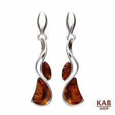 COGNAC BALTIC AMBER STERLING SILVER 925 JEWELLERY BEAUTY EARRINGS. KAB-186