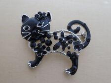 Black Enamel and Crystal Cat, Kitten Brooch