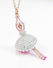 BETSEY JOHNSON Pave Ballerina Rose Gold-Tone Pendant Long Necklace