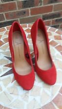 GORGEOUS RED FAUX SUEDE COURT SHOES SIZE 3