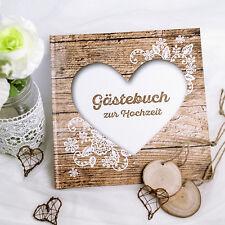 """Gästebuch Hochzeit """"Herzenssache"""" Hochzeitsgästebuch Holzoptik natur rustikal"""