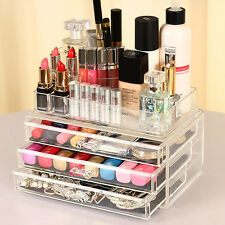 Cosmetic Organizer Drawer Clear Acrylic Jewellery Box Makeup Storage Case Holder