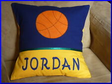 CHILD'S/BOYS PERSONALISED NAME CUSHION COVER/NURSERY/SHOWER/GIFT  - BASKETBALL -