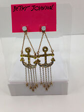 NWT Betsey Johnson Large Crystal Anchor Ocean Drop Dangle Earrings Free Shipping