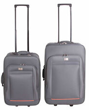GRAU 2 tlg. Kofferset Trolley Koffer Set Reisekoffer Beauty Handgepäck Nylon