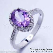 Lovely Platinum Plated Purple Sapphire and CZ Ring Size 7