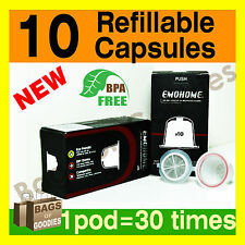 NEW IMPROVED 10 x Refillable/Reusable Coffee Capsules Pod for Nespresso Machine