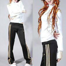 Adidas White/Gold Tracksuit Jacket & Black/Gold Striped Pants
