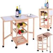 Wooden Portable Kitchen Dining Trolley Foldable Table Wheels