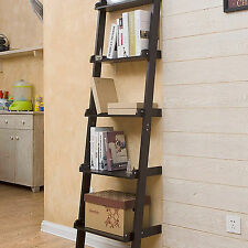 5 TIERS WOODEN WALL LEANING LADDER SHELF DISPLAY UNIT BOOKCASE STORAGE SHELVES