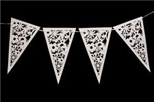 16Pcs Wedding Party Banner Venue Bunting Hearts & Flowers Decoration Decal White
