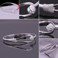 Hot Chic Silver Plated Bracelet Flower Charm Bangle Cuff Women Lady Jewelry