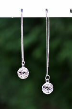 Sterling Silver 925 Filigree Heart Ball Drop Threader Earrings