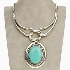 Flossy Vintage Oval Tribal Genuine Turquoise Statement Charm Necklace Pendant