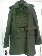 ZARA SIZE L MENS GREY DOUBLE BREASTED WOOL BLEND COAT WITH BELT