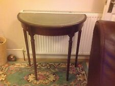 Reproduction Mahogany Half Moon Console Table With Leather Top
