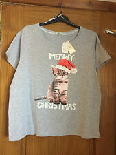 Ladies CAT Christmas T-shirt/top - PLUS SIZE 16-18 - BNWT  Party/xmas