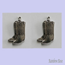 PEWTER CHARM #2019 COWBOY BOOTS x 2 - 27mm for earrings necklace etc