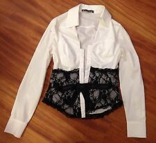 White Corset Lace Elegant Career Work Office Long Sleeve Bow Shirt Top M 8 AU
