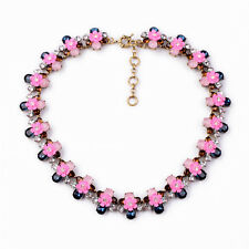 Sweet Chunky Pink Crystal Glass Floral Flower Bronze Choker Necklace Vogue