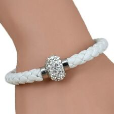 Ladies White Braided PU Leather Bracelet Rhinestone Magnetic Wristband Stylish
