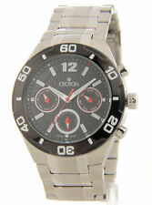 Croton CA301271BKBK Mens Steel Day Date 24 Hour Time Watch