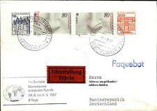Schiffspost Brief Eilzustellung Schiff MS EUROPA 1987 Paquebot aus Norwegen