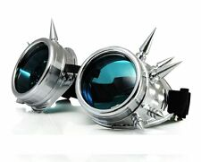 SILVER WELDING CYBER GOGGLES GOTH  STEAMPUNK STEAM PUNK SUN GLASSES  WITH SPIKES