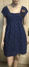 Veronika Maine Retro Blue Dress Cotton Blend In A Size 8 Fully Lined