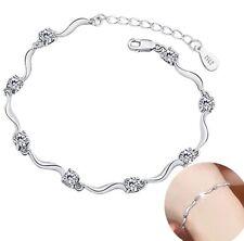 Elegantes 925 Sterling Silber Armband Plattiert Schmuck Damen Kette Armreif P91