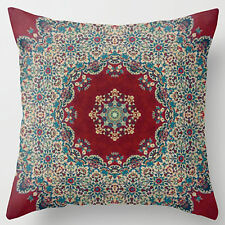 18'' Super Soft Cotton Velvet Burgundy Floral Pattern Cushion Pillow Cover RC36