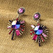 ELEGANT ANTHROPOLOGIE MULTICOLOR GLASS STONES LILAC PEARL DROP EARRINGS NEW