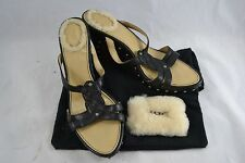 """UGG """"Rochelle"""" black leather strappy wedges sandals size 38.5 (AU 7.5)"""