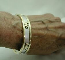 Vintage Fabulous Heavy Two Colour 14ct Gold Hinged Bangle With Elephants By BEMA