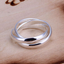 *UK* 925 SILVER PLT TRIPLE INTERWOVEN BAND INFINITY RING STATEMENT THREE THUMB