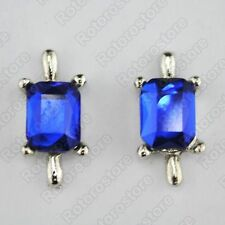 Blue Stone Silver Magnet Stud Earrings - Magnetic Mens Womens Fashion - NEW