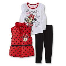 Disney Minnie Mouse Girl Red Puffer Vest Shirt Top Pants Winter Outfit/Set 4T