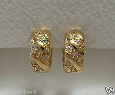 18ct Gold Plated CZ Huggie Hoop Earrings 16mm x 5mm.
