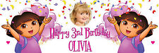 LARGE PAPER BIRTHDAY BANNER POSTER DORA THE EXPLORER ANY NAME TEXT PHOTO ETC