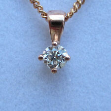 """Brand New Diamond Solitaire 9ct Rose Gold Pendant Necklace & 18"""" Chain £74.99"""