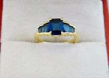 Beautifully Created Blue Sapphire Solitaire10KT Yellow Gold Filled Lady's Sz 7/N