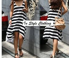 WOMEN'S SUMMER BLACK WHITE STRIPE SIZE 10 CASUAL DRESS ANGLE HEMLINE