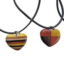 2 Stück Kette Herz Herzen Holzanhänger Ketten Modeschmuck Holzkette Lederband