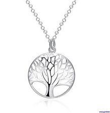 074  Damen Halskette mit Anhänger Lebensbaum 925 Sterling Silber Pl NEU