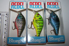 "REBEL FISHING LURES LOT OF 3, ""BLUEGILL""  Trout, Bass, Bream. NOT DIAWA, RAPALA"